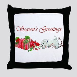 Westie Greetings Throw Pillow