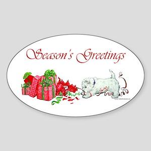 Westie Greetings Oval Sticker