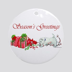 Westie Greetings Ornament (Round)