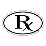 Oval Sticker with Pharmacy Rx
