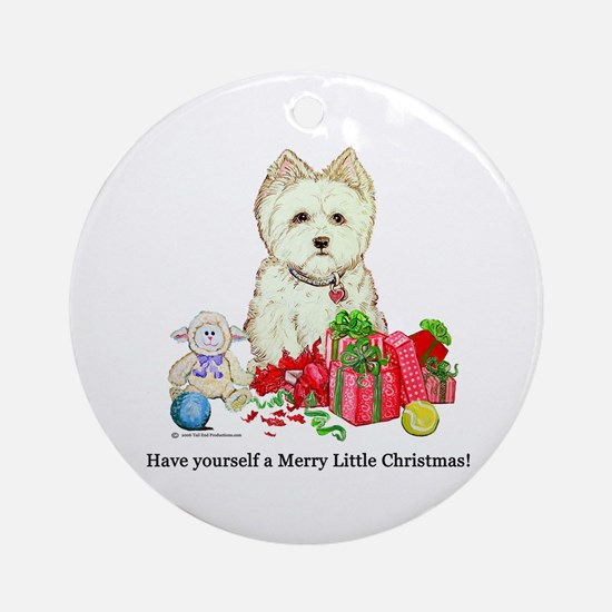 Westhighland Terrier Christmas Dog Ornament (Round