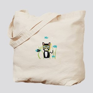 Underwater diving cat with fish Tote Bag