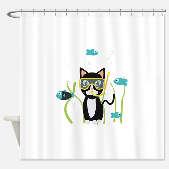 Underwater diving cat with fish Shower Curtain