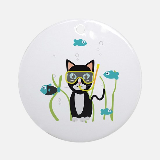Underwater diving cat with fish Round Ornament