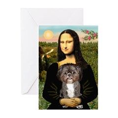 Mona / Shih Tzu(br&w) Greeting Cards (Pk of 10)