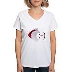 Smiley Emoticon - Santa Hat Women's V-Neck T-Shirt