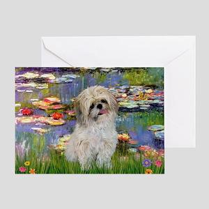 Lilies /Shih Tzu (p) Greeting Card