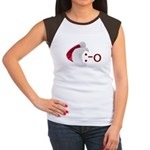 Oh! Emoticon with Santa Hat Women's Cap Sleeve T-S