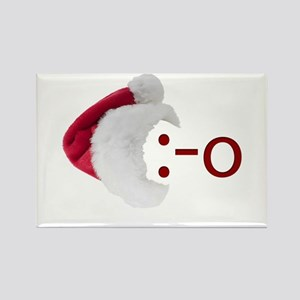 Oh! Emoticon with Santa Hat Rectangle Magnet