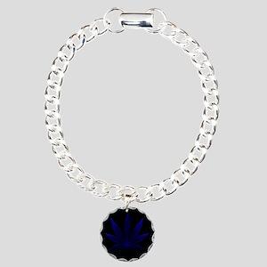 Deep Blue Cannabis Charm Bracelet, One Charm