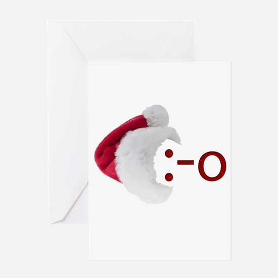 Oh! Emoticon with Santa Hat Greeting Card
