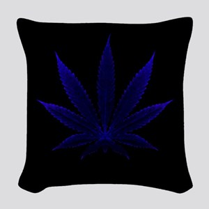 Deep Blue Cannabis Woven Throw Pillow
