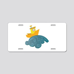 Boat On Wave Aluminum License Plate