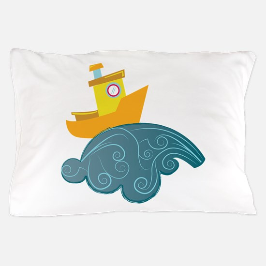 Boat On Wave Pillow Case