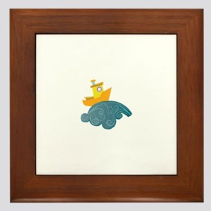 Boat On Wave Framed Tile