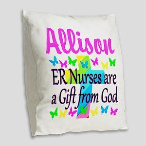 ER NURSE PRAYER Burlap Throw Pillow