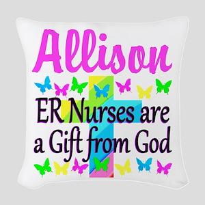 ER NURSE PRAYER Woven Throw Pillow