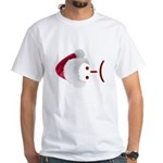 Frown Emoticon in Santa Hat White T-Shirt