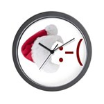 Frown Emoticon in Santa Hat Wall Clock