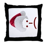 Frown Emoticon in Santa Hat Throw Pillow