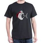 Frown Emoticon in Santa Hat Dark T-Shirt