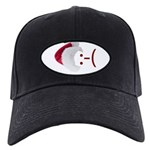 Frown Emoticon in Santa Hat Black Cap