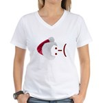 Frown Emoticon in Santa Hat Women's V-Neck T-Shirt