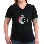 Frown Emoticon in Santa Hat Women's V-Neck Dark T-