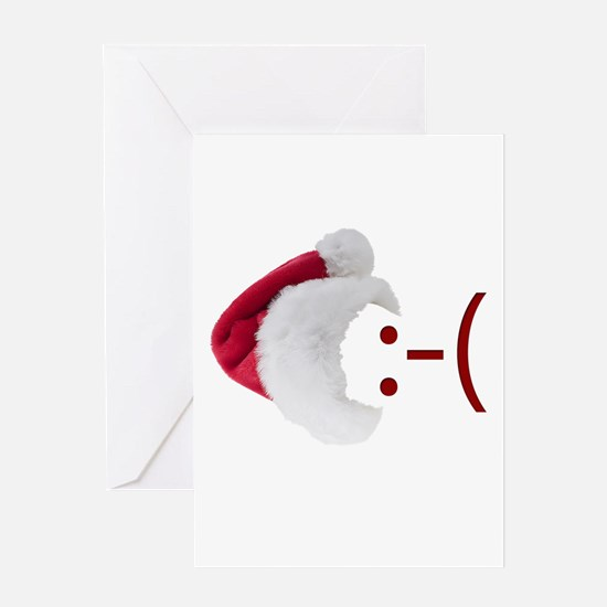 Frown Emoticon in Santa Hat Greeting Card