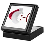 Frown Emoticon in Santa Hat Keepsake Box