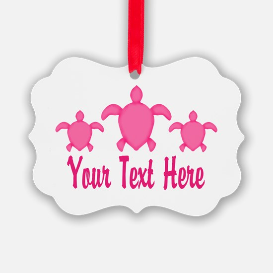 Pink Sea Turtle Name Ornament