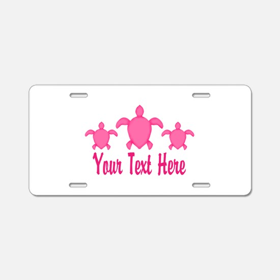 Pink Sea Turtle Name Aluminum License Plate