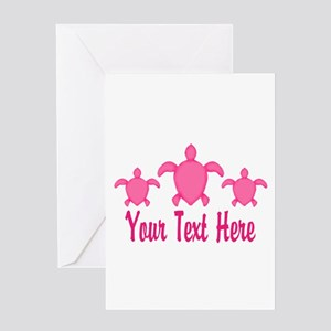 Pink Sea Turtle Name Greeting Cards