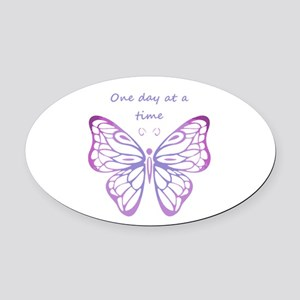 One Day at a Time Quote Butterfly Oval Car Magnet