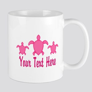 Pink Sea Turtle Name Mugs