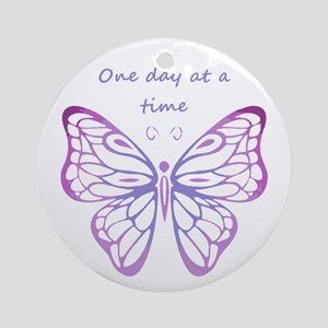 One Day at a Time Quote Butterfly A Round Ornament