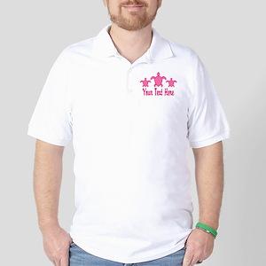 Pink Sea Turtle Name Golf Shirt