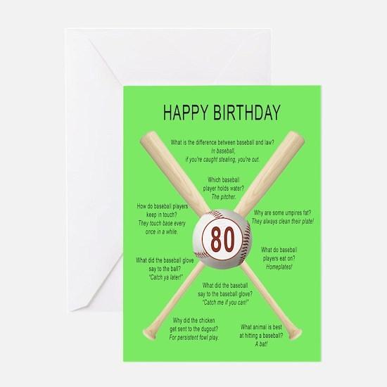 80th birthday, awful baseball jokes Greeting Cards