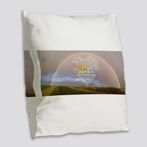Happy Birthday Rainbow Burlap Throw Pillow