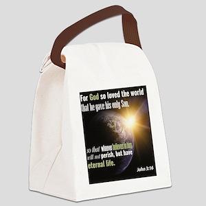 "John 3:16. ""For God so loved the Canvas Lunch Bag"