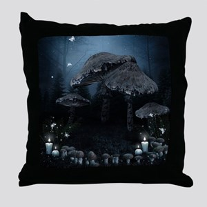 Dark Mushrooms Throw Pillow
