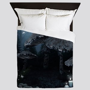 Dark Mushrooms Queen Duvet