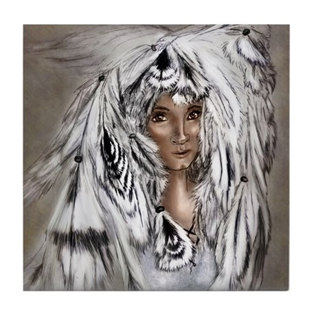 Native Eagle Feather Woman by Janice Moore