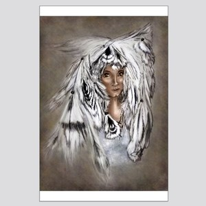 Native Eagle Feather Woman Posters