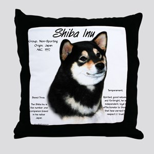 Shiba Inu (blk/tan) Throw Pillow
