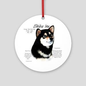 Shiba Inu (blk/tan) Round Ornament