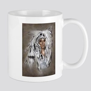 Native Eagle Feather Woman Mugs