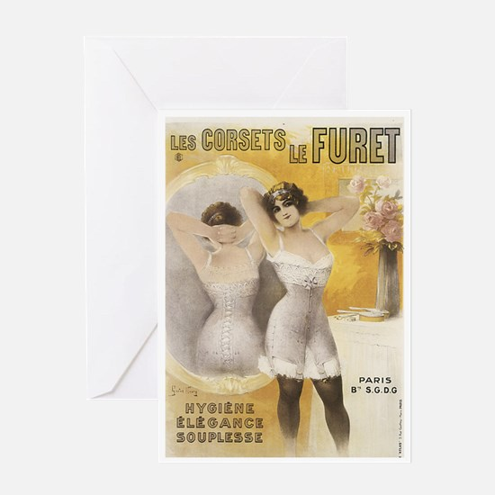 Vintage French Lingerie Ad Greeting Card