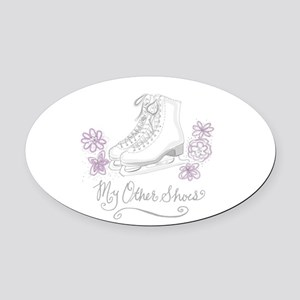 My Other Shoes Figure Skates Oval Car Magnet