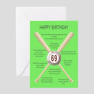 69th Birthday Awful Baseball Jokes Greeting Cards